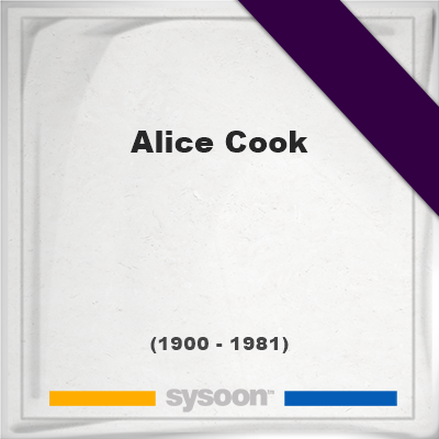Headstone of Alice Cook (1900 - 1981), memorial, cemetery