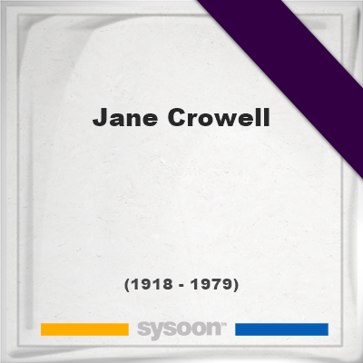 Headstone of Jane Crowell (1918 - 1979), memorial, cemetery